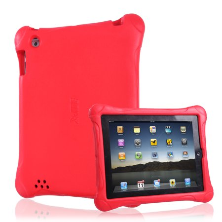 Ipad 2 Case Cover - HDE Apple iPad 2 3 4 Shock Proof Case for Kids - Protective Bumper Cover Rugged Lightweight Skin for iPad 2 iPad 3 iPad 4 (Red)