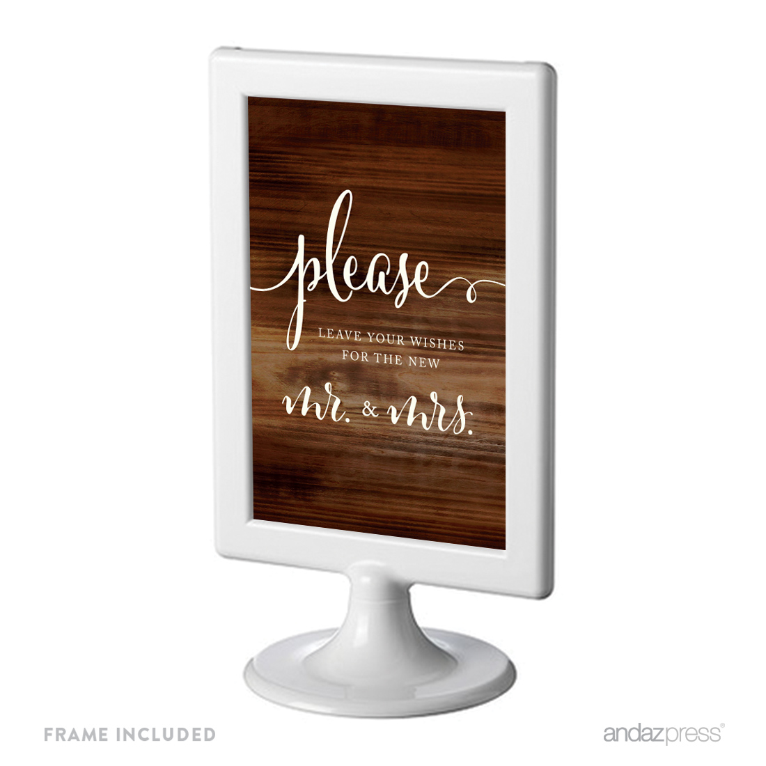 Leave Your Wishes For New Mr. & Mrs. Framed Rustic Wood Wedding Party Signs