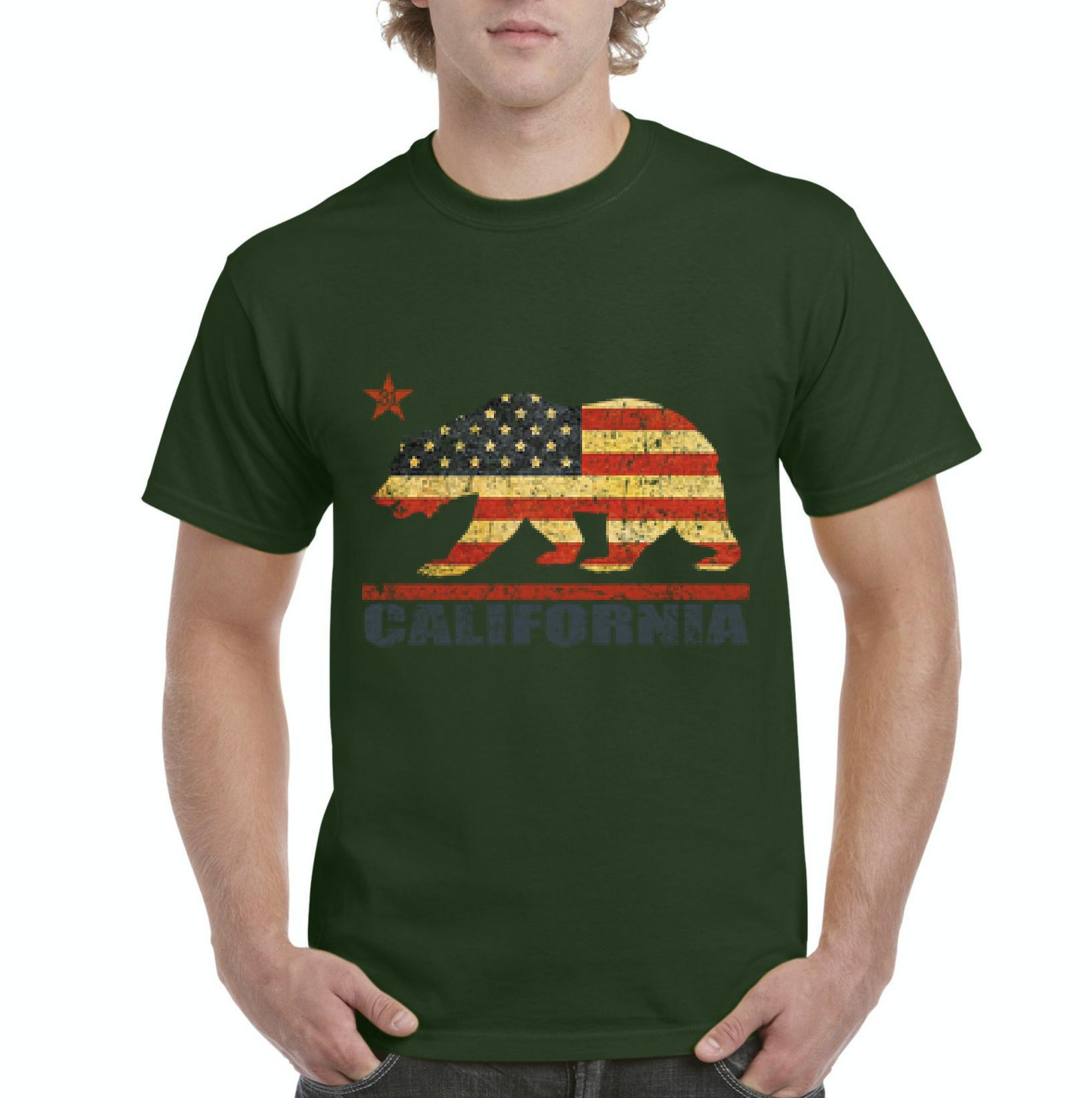 J_H_I California Americana Bear Gift for Hollywood CA USA Flag 4th of July Mens Shirts