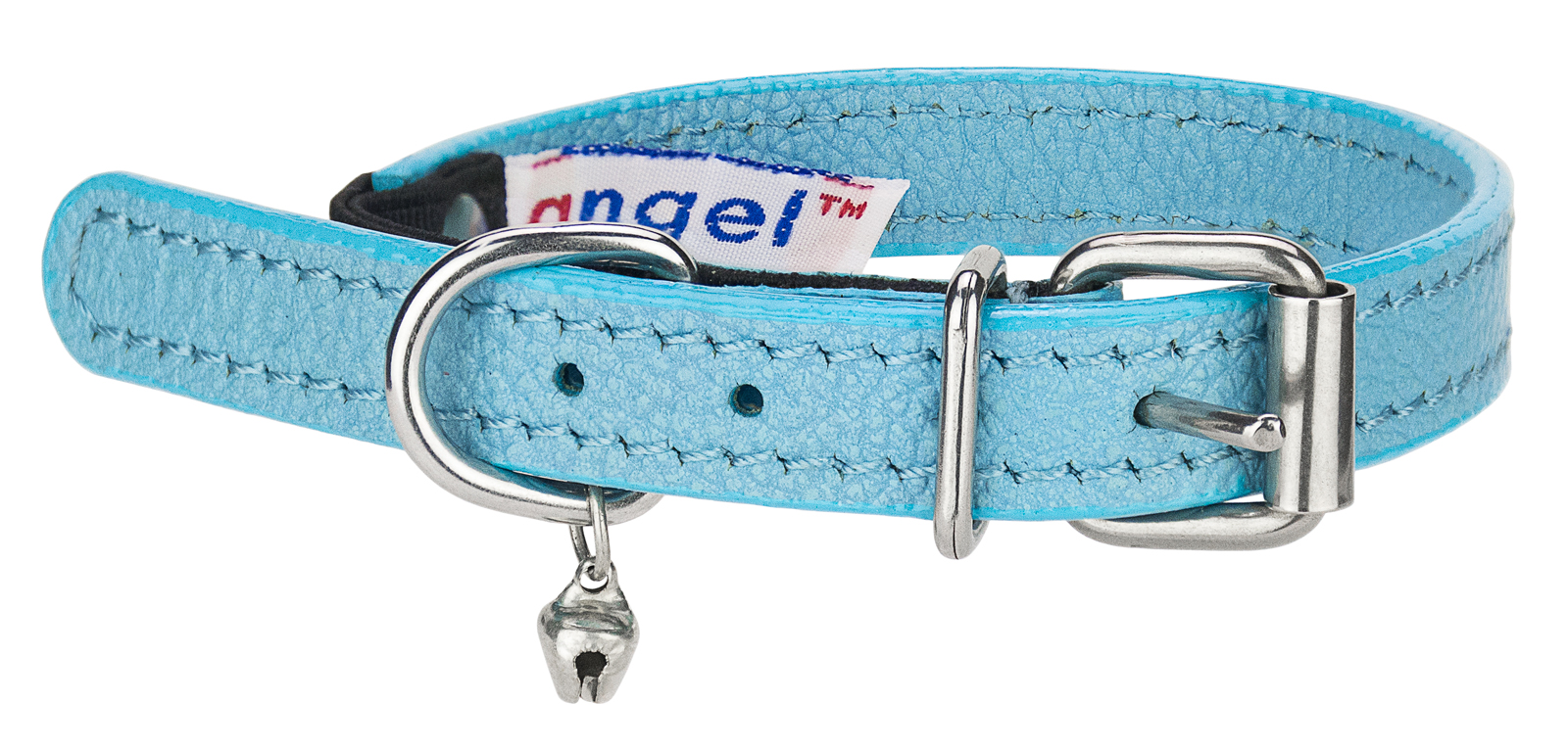 Angel Alpine Baby Blue Leather Cat Collar by Angel