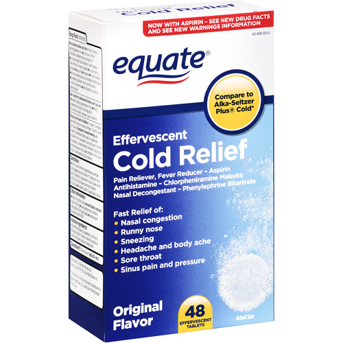 Equate Cold Relief Original Flavor Effervescent Tablets, 48ct