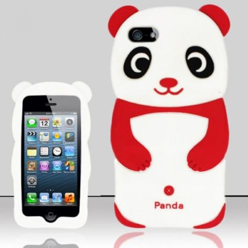Insten Red 3D Panda Bear Silicone Soft Skin Case Cover For Apple iPhone SE 5