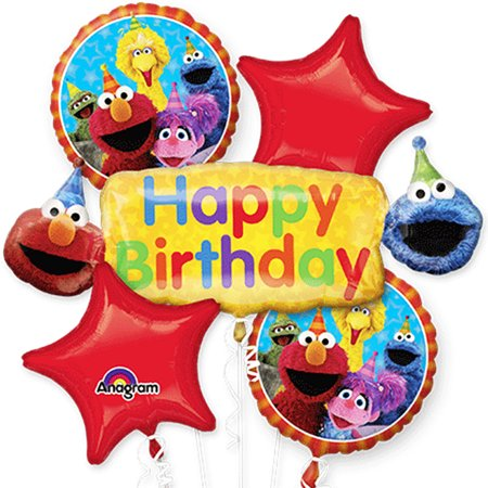 Elmo Sesame Street Happy Birthday Authentic Licensed Theme Foil Balloon Bouquet - Candy Themed Balloons