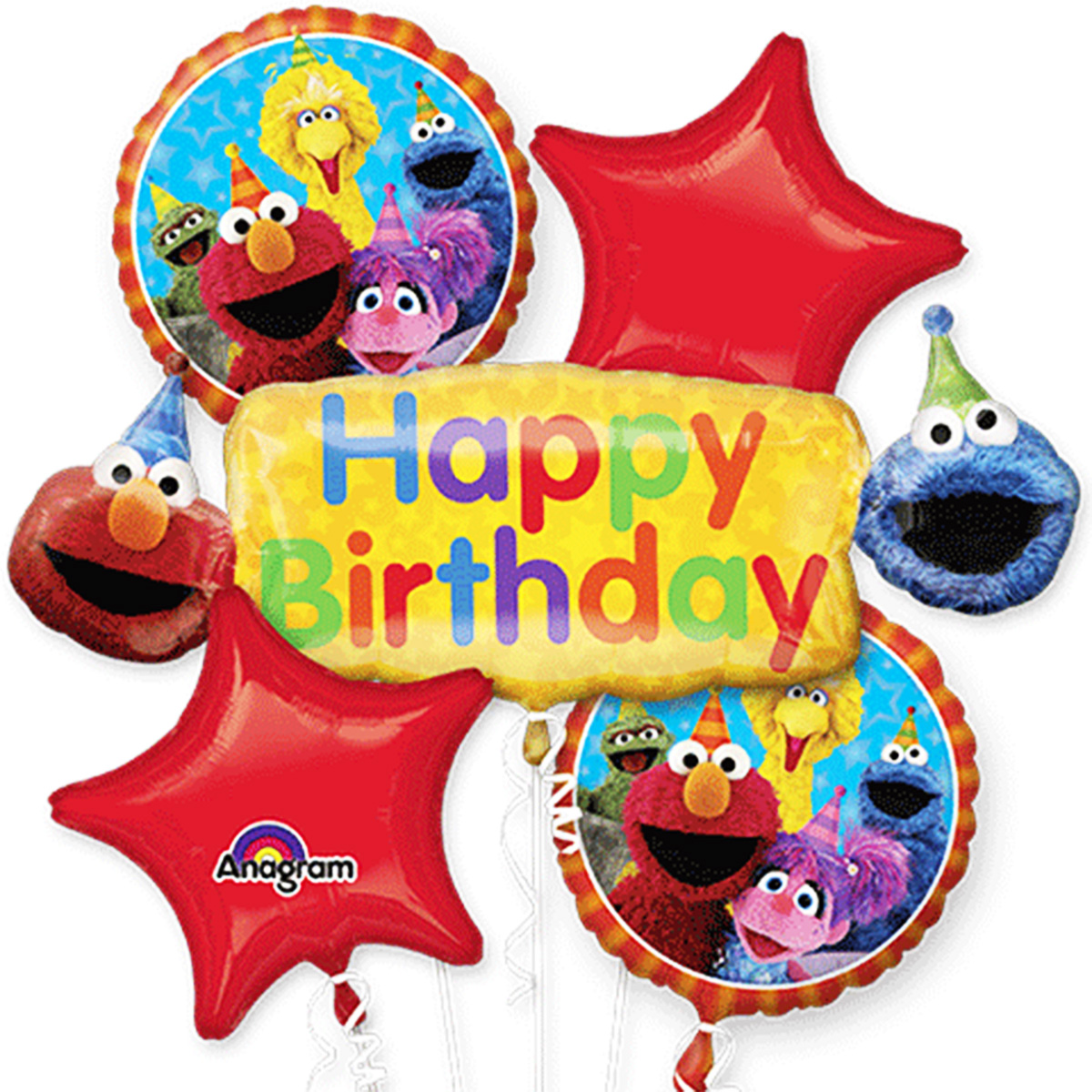 Elmo Sesame Street Happy Birthday Authentic Licensed Theme Foil Balloon Bouquet