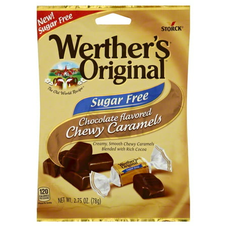 Storck Werther's Original Sugar-Free Chocolate Flavored Chewy Caramels, 2.75 Oz.