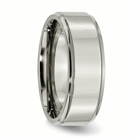 Titanium Ridged Edge 8mm Wedding Ring Band Size 10.50 Classic Flat W/edge Fashion Jewelry For Women Gifts For Her - image 3 of 10