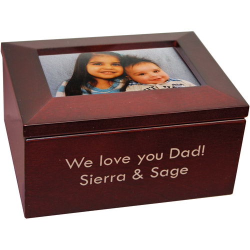 Personalized Two-Line Message Photo-Top Wood Keepsake Box