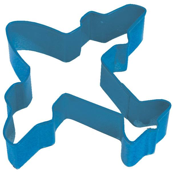 Airplane Navy Poly Resin Coated Tin Cookie Cutter 4 in - R&M Cookie Cutters - Tin Plate Steel