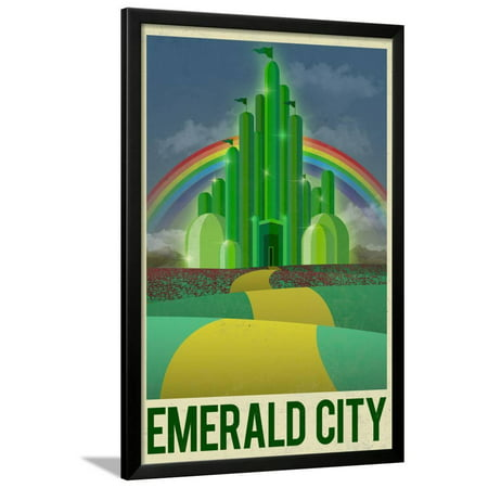 Emerald City Vintage (Emerald City Retro Travel Poster Fantasy Movie Travel Advertisement Framed Poster Wall Art)