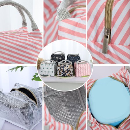 Insulated Lunch Bag Warm Cooler Box Tote Carry Bag w Zipper Pink Stripe Pattern - image 6 of 7