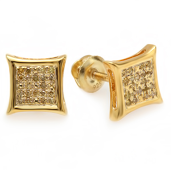 0.10 Carat (ctw) Yellow Round Diamond Micro Pave Setting Kite Shape Stud Earrings 1/10 CT
