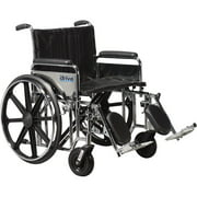 "Drive Medical Sentra Extra Heavy Duty Wheelchair, Detachable Adjustable Height Full Arms, Elevating Leg Rests, 22"" Seat"