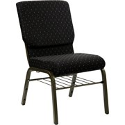 """33"""" Black and Gold Contemporary Church Chair with Book Rack"""