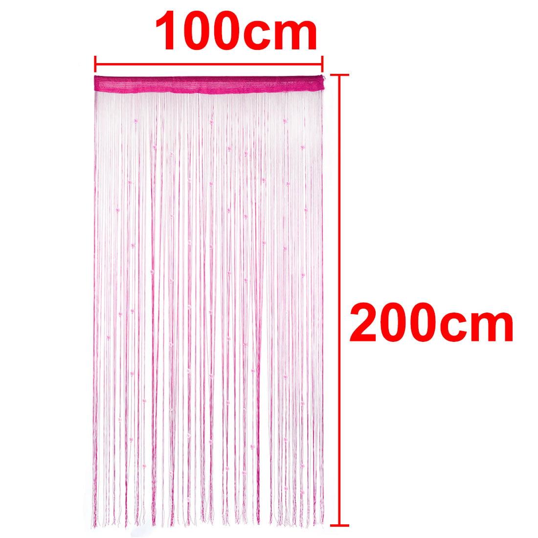 Home Decor Polyester Door Window String Bead Curtain Tassel Fuchsia 100 x 200cm - image 1 de 3