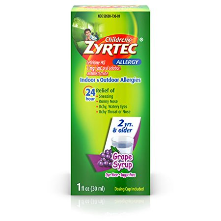 Childrens Zyrtec Allergy Syrup Dye Free Sugar Free Grape 1oz - Childrens Syrup