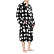 Mens Plush Fleece Robe with Shawl Collar   Soft, Warm, Lightweight Spa Bath Robe