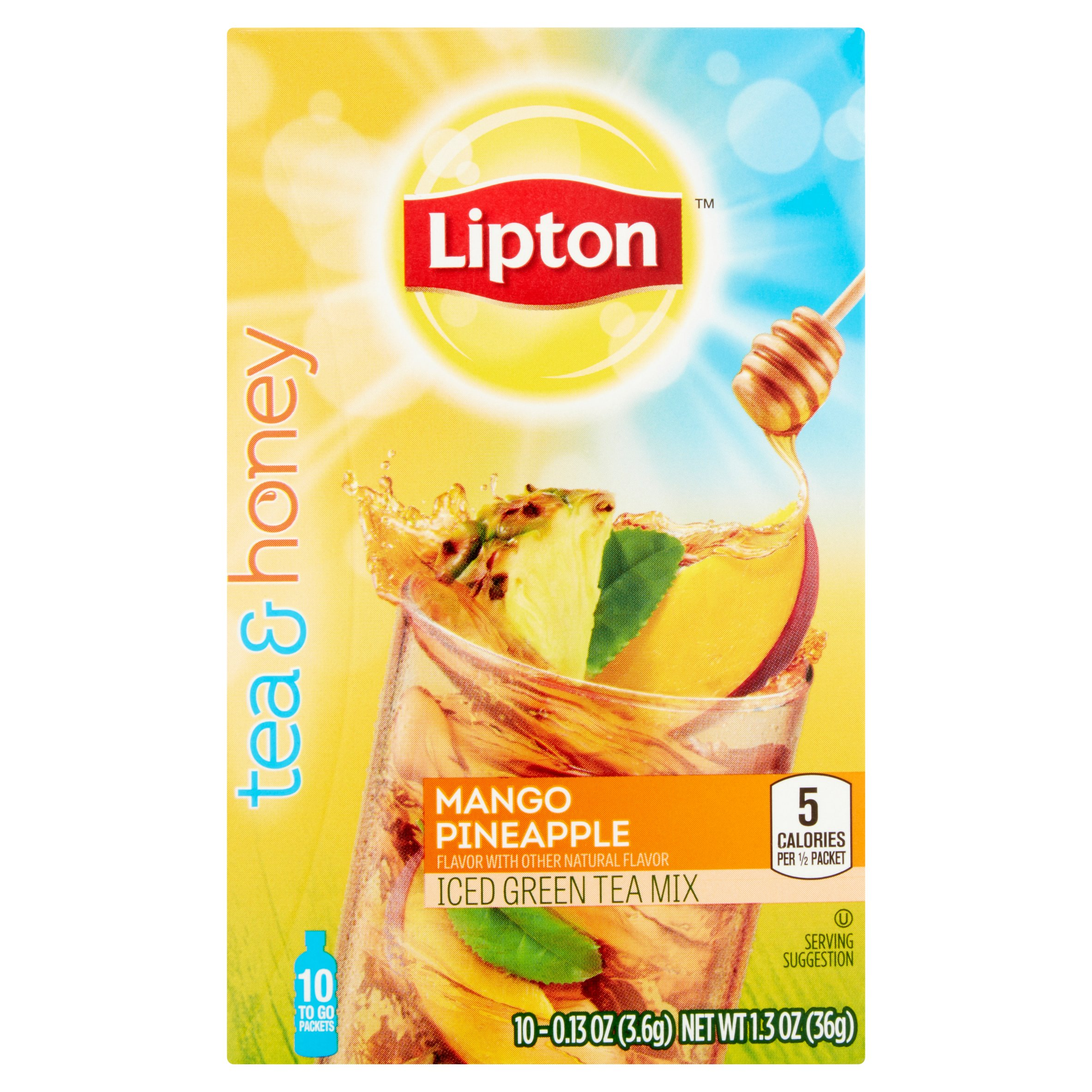 Lipton Mango Pineapple Iced Green Tea To-Go Packets 10 ct