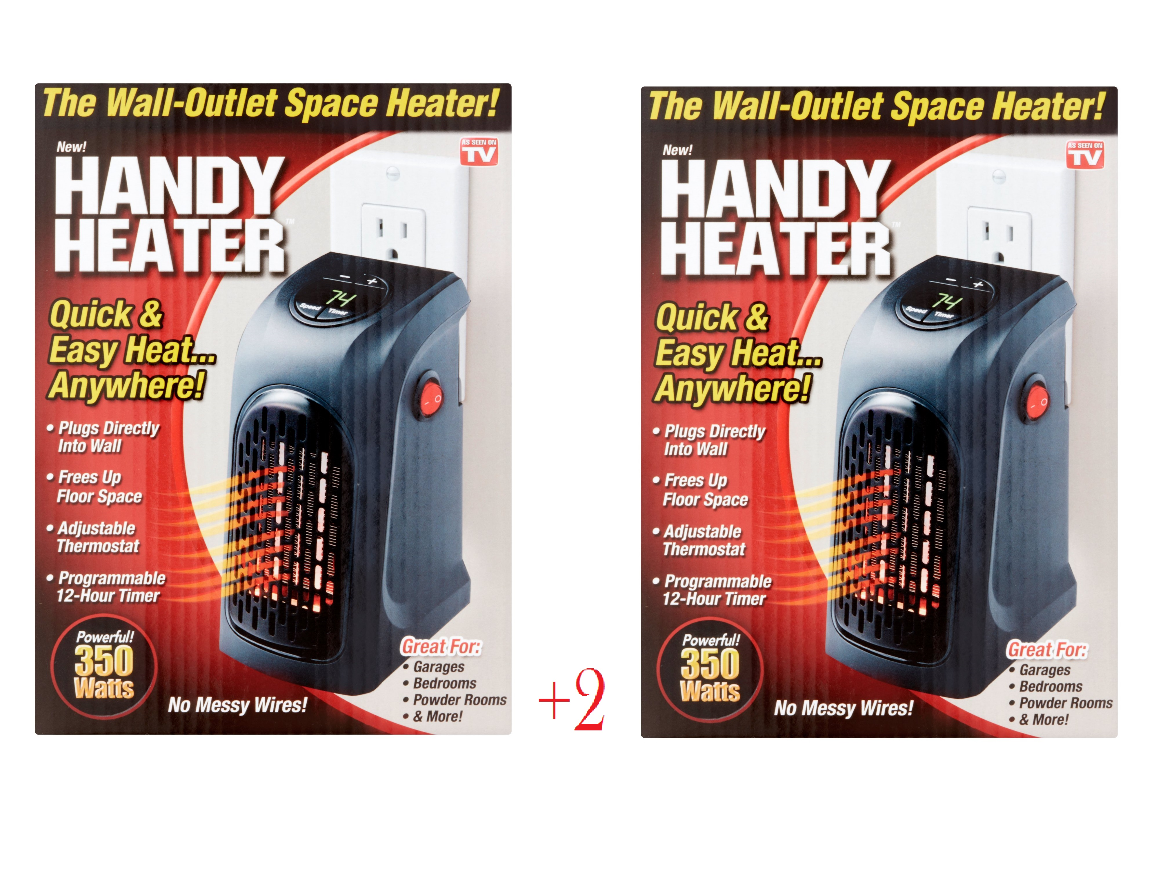 As Seen on TV Handy Space Heater, 350 watts 2 PACK by