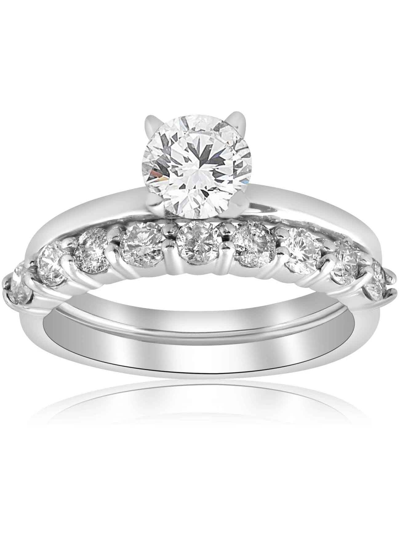 1 1/10ct Diamond Engagement Wedding Ring Solitaire Set 14k White Gold