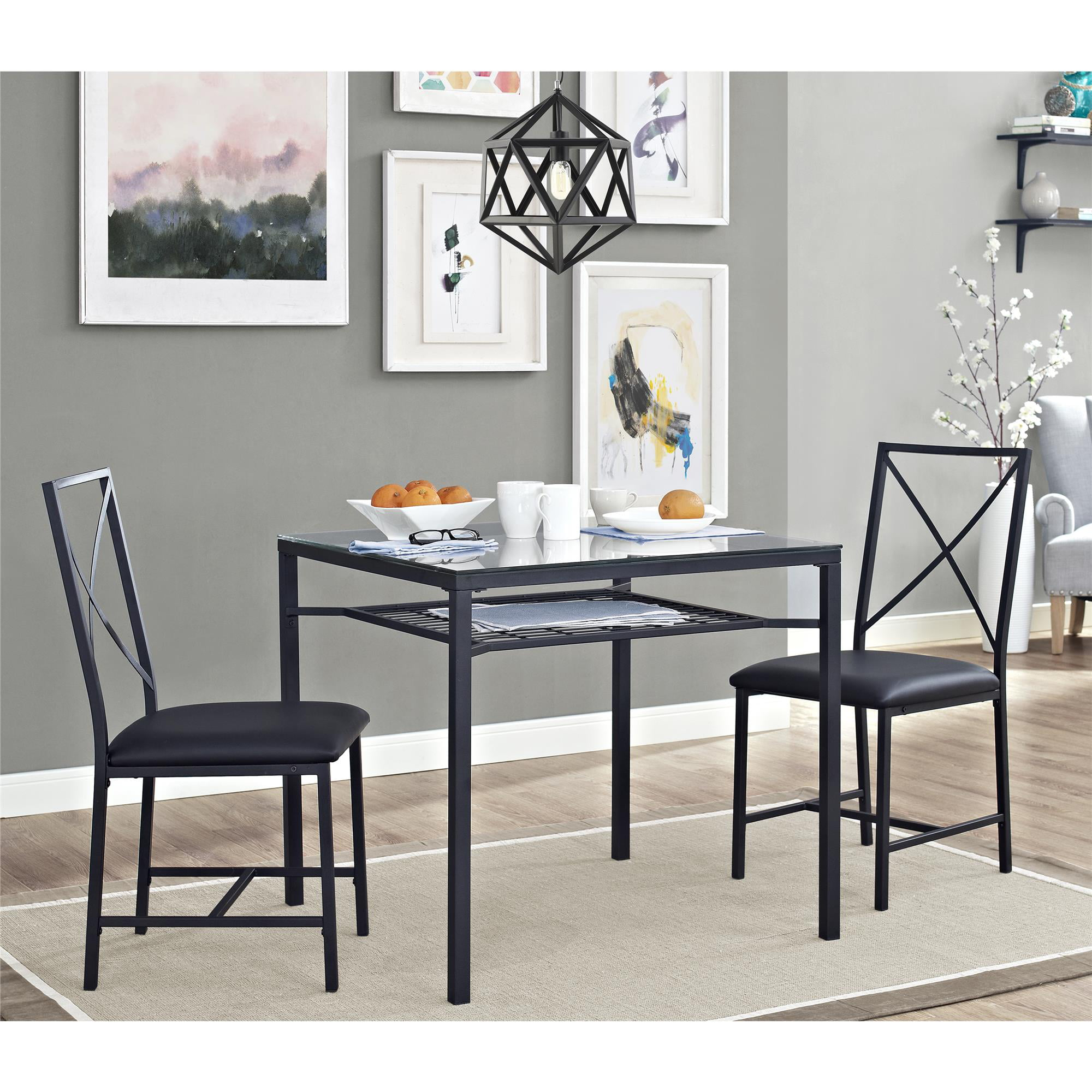 Mainstays 3 Piece Metal Glass Dinette Dining Room Furniture Black Walmart Com Walmart Com