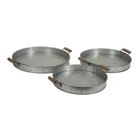 Set Of 3 Gray Galvanized Steel Round Decorative Serving