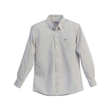 Gioberti Little Boys Grey White Striped Button-Up Long Sleeve Dress Shirt 4-7