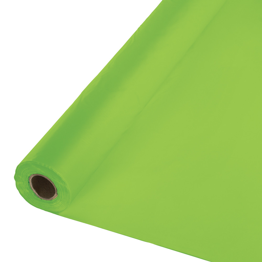 Pack of 2 Fresh Lime Green Disposable Plastic Banquet Party Table Cloth Rolls 100'