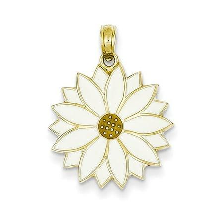 Enamel Flower Daisy - 14k Enameled White Daisy Flower Pendant