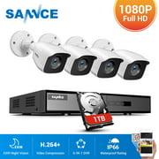 SANNCE 4CH DVR CCTV System 4PCS 2MP IP66 Waterproof Outdoor Security Cameras 1080P HDMI TVI CCTV DVR 1280TVL Surveillance Kit White with 1T HDD