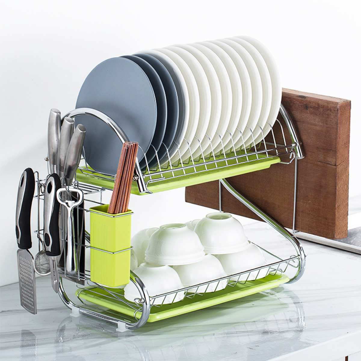Details about  /Kitchen Storage Dish Cup Drying Rack Holder Organizer Drainer Dryer Tray