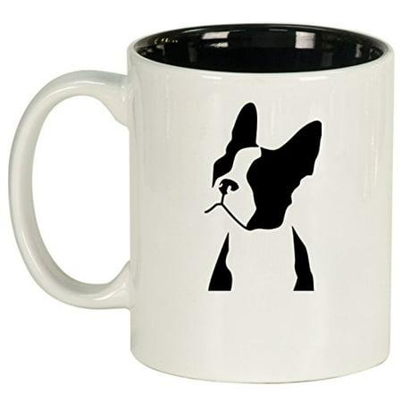 Ceramic Coffee Tea Mug Cup Boston Terrier Face (White)