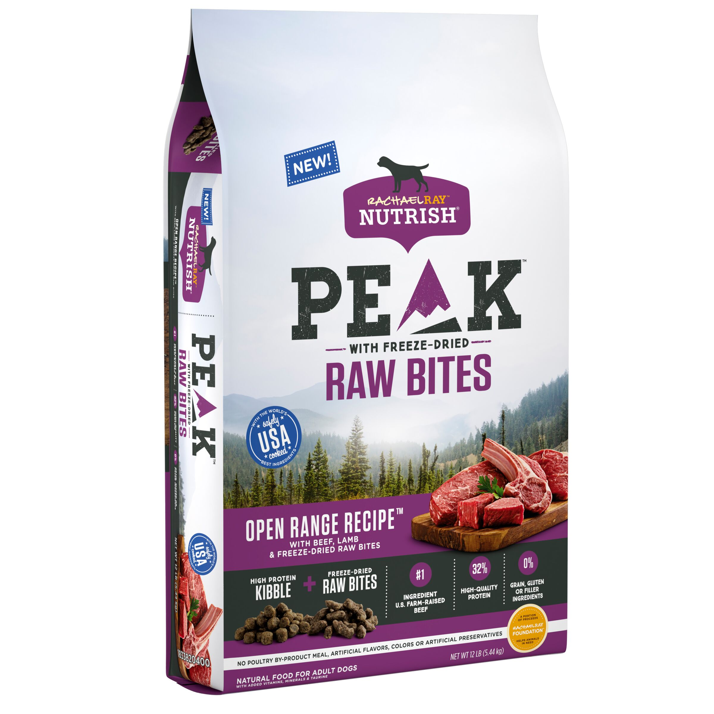 Rachael Ray Nutrish PEAK Natural Grain Free Dog Food with Freeze Dried Raw Bites, Open Range Recipe with Beef & Lamb, 12lbs