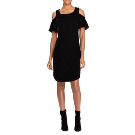 Ralph Lauren Sundress - Lauren Ralph Lauren Polo Black Cold-Shoulder Velour Sheath Dress 10
