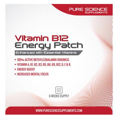Pure Science TRANSDERMAL VITAMIN B12 PATCHES - 5000MCG METHYLCOBALAMIN ENHANCED WITH ESSENTIAL VITAMINS - 6 WEEKS SUPPLY (B Stock Supply)