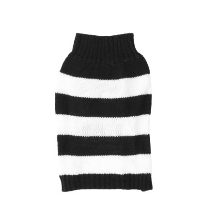Unique Bargains Pet Dog Doggy Stripe Pattern Ribbed Cuff Knitted Apparel Sweater Black White S - Dobby Dog Halloween