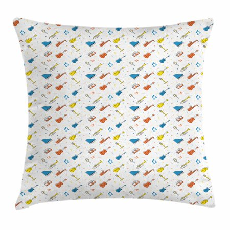 Guitar Throw Pillow Cushion Cover, Festival Event Live Performance Theme Various Musical Objects with Geometric Details, Decorative Square Accent Pillow Case, 18 X 18 Inches, Multicolor, by Ambesonne (Themed Events)