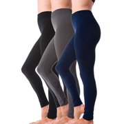 3 Pack Women's Winter Warm Fleece Lined Thick Brushed Full Length Leggings Thights Thermal Pants