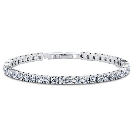 18k White Gold Plated Swarovski Crystal Tennis Bracelet