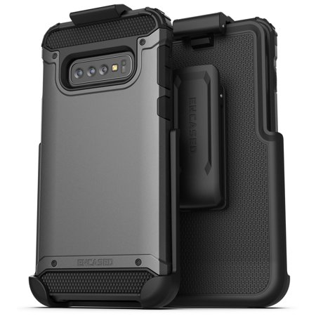 Encased Galaxy S10 Belt Clip Holster Case (2019 Scorpio Armor) Ultra Protective Tough Grip Cover with Holder for Samsung Galaxy S10 - Gunmetal