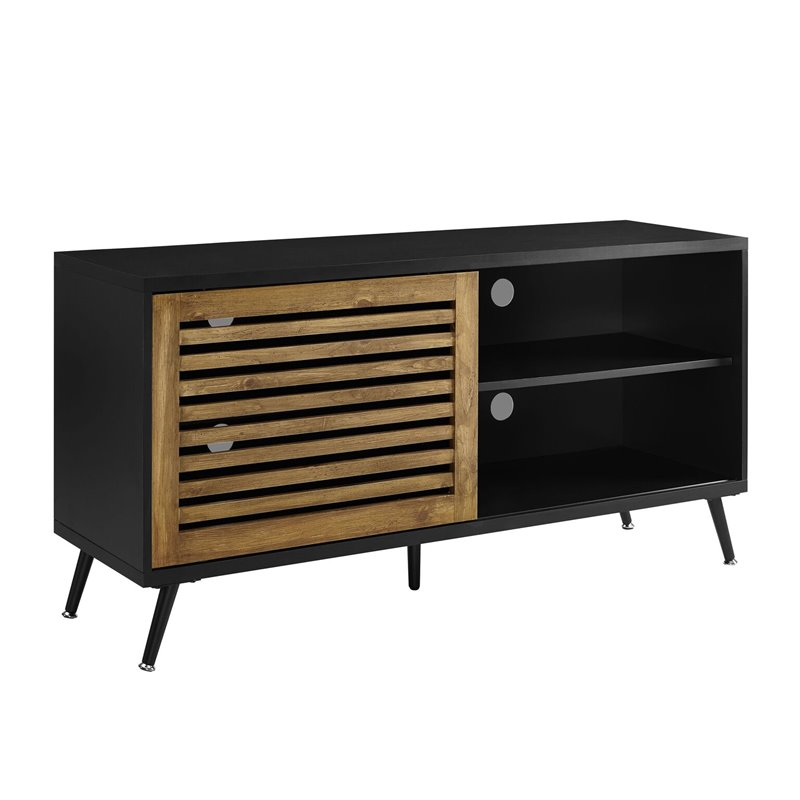 "Walker Edison 52"" TV Console with Sliding Door - Black and Barnwood"