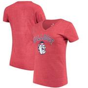 Fresno State Bulldogs Fanatics Branded Women's Vault Arch over Logo Tri-Blend V-Neck T-Shirt - Red
