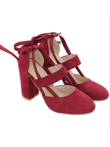 Womens Pointed Toe Suede Ankle Strappy Block Heels Chunky Sandals Party Shoes