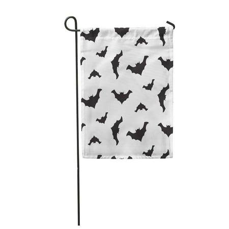 SIDONKU Cartoon Halloween Flying Black Bats Silhouettes and Celebration Dark Garden Flag Decorative Flag House Banner 12x18 inch