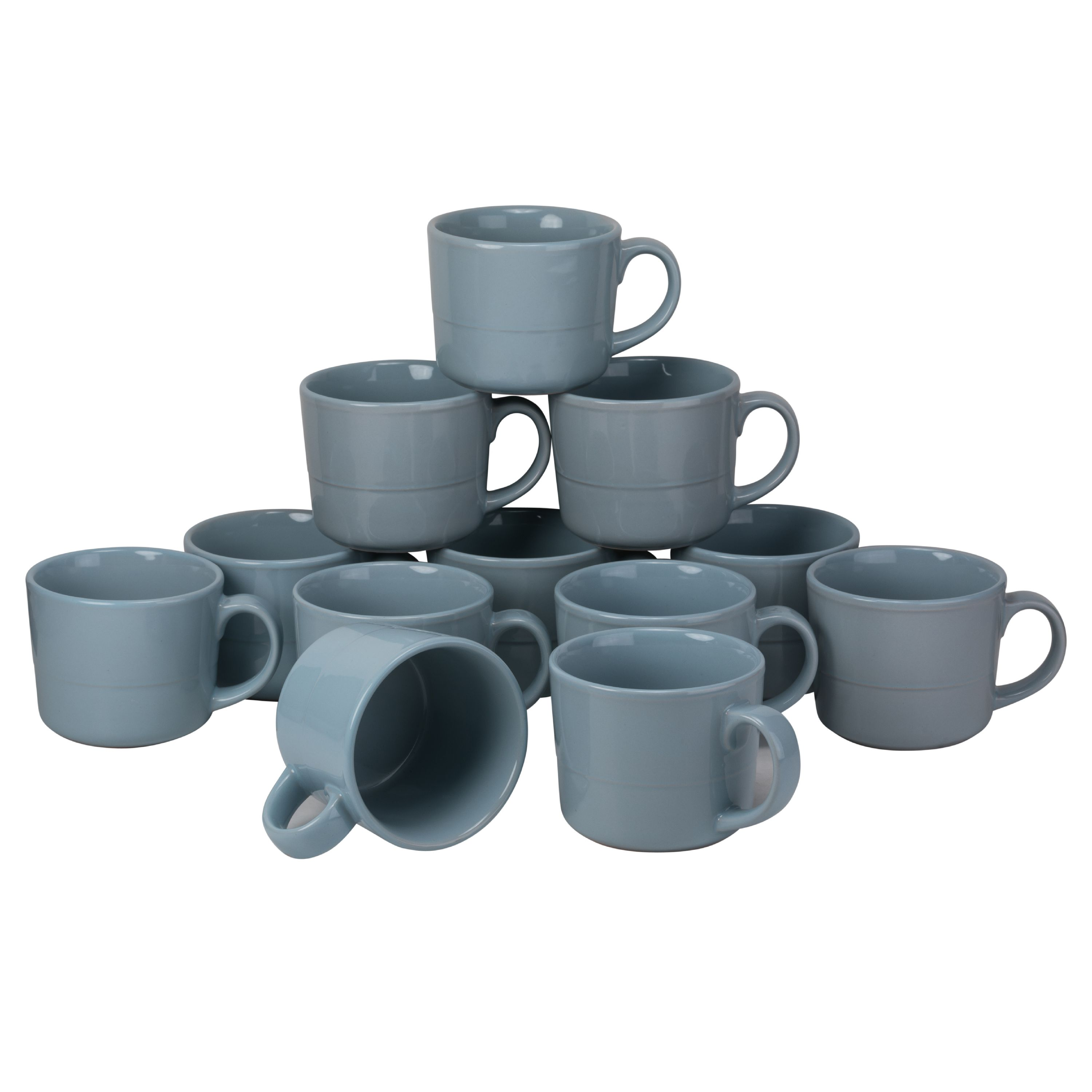 10 Strawberry Street Double Line Catering Pack, Set of 12 Gray Mugs12 oz