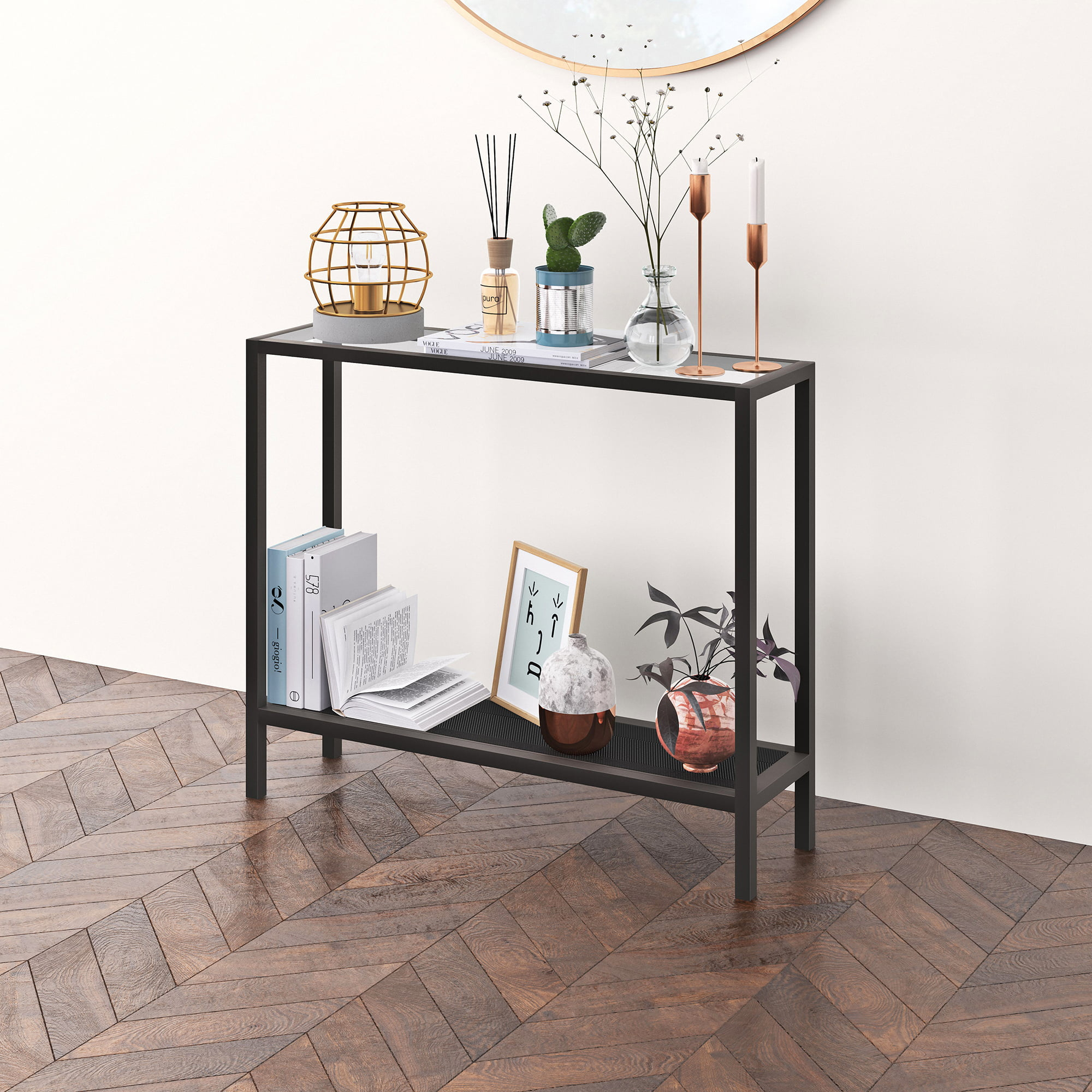 Evelyn&Zoe Contemporary Metal Console Table with Glass Top
