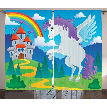 Kids Decor Curtains 2 Panels Set, Fantasy Myth Unicorn with Rainbow and Medieval Castle Fairy Tale Cartoon Design, Window Drapes for Living Room Bedroom, 108W X 84L Inches, Multicolor, by Ambesonne