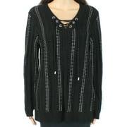 Calvin Klein Women's Sweater Black White Size Medium M Tunic Lace Up