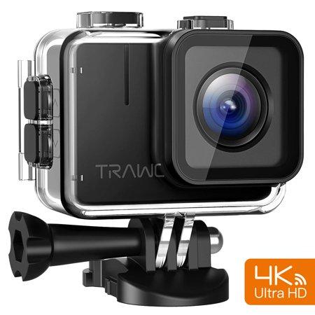 APEMAN Trawo Action Camera 4K WiFi Ultra HD 20MP Underwater Waterproof 40M Camcorder with 170 ° Ultra-Wide Angle Panasonic Sensor EIS Stabilization Dual 1350 mAh