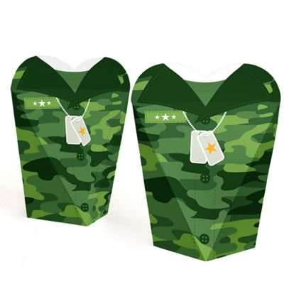 Camo Hero - Army Military Camouflage Party Favors - Gift Favor Boxes for Women and Kids - Set of 12 (Army Party Games)