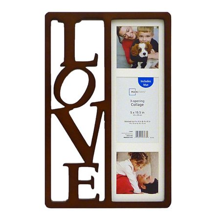 love 3-opening collage black wall hanging photo frames: holds 3 ...